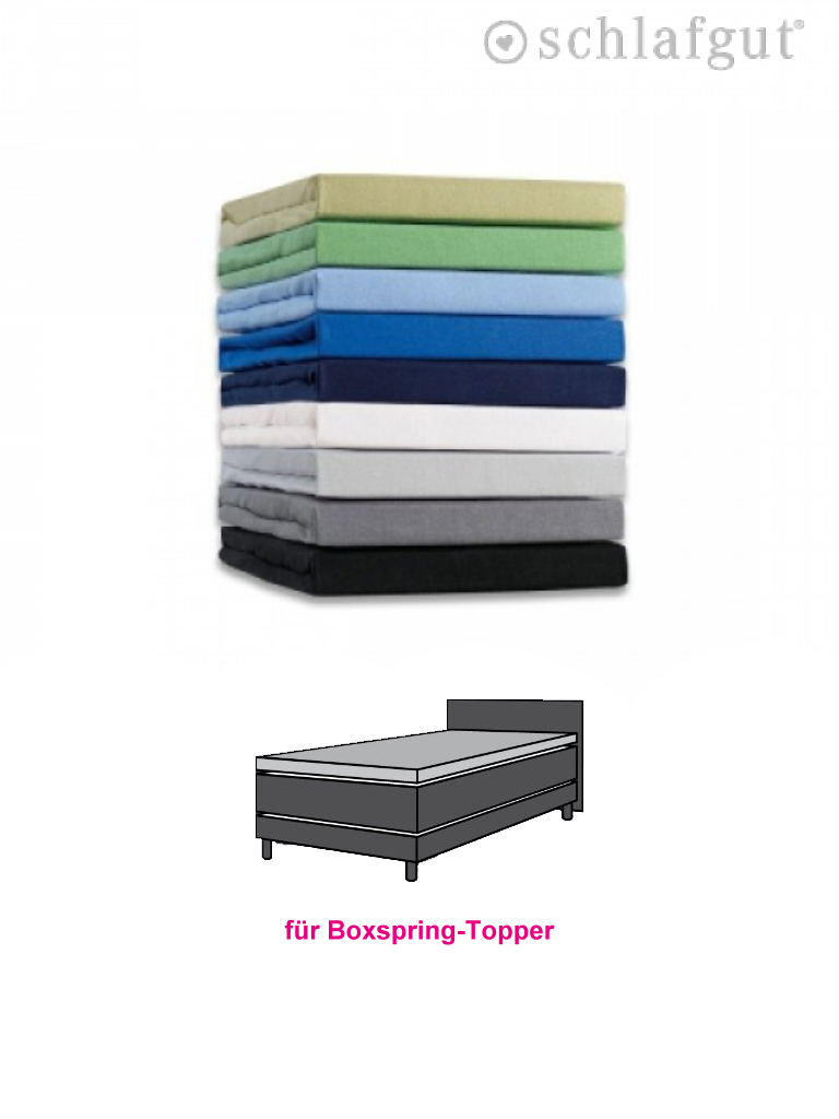boxspringbett topper spannbettlaken schlafgut spannbettt cher baumwolle jersey ebay. Black Bedroom Furniture Sets. Home Design Ideas