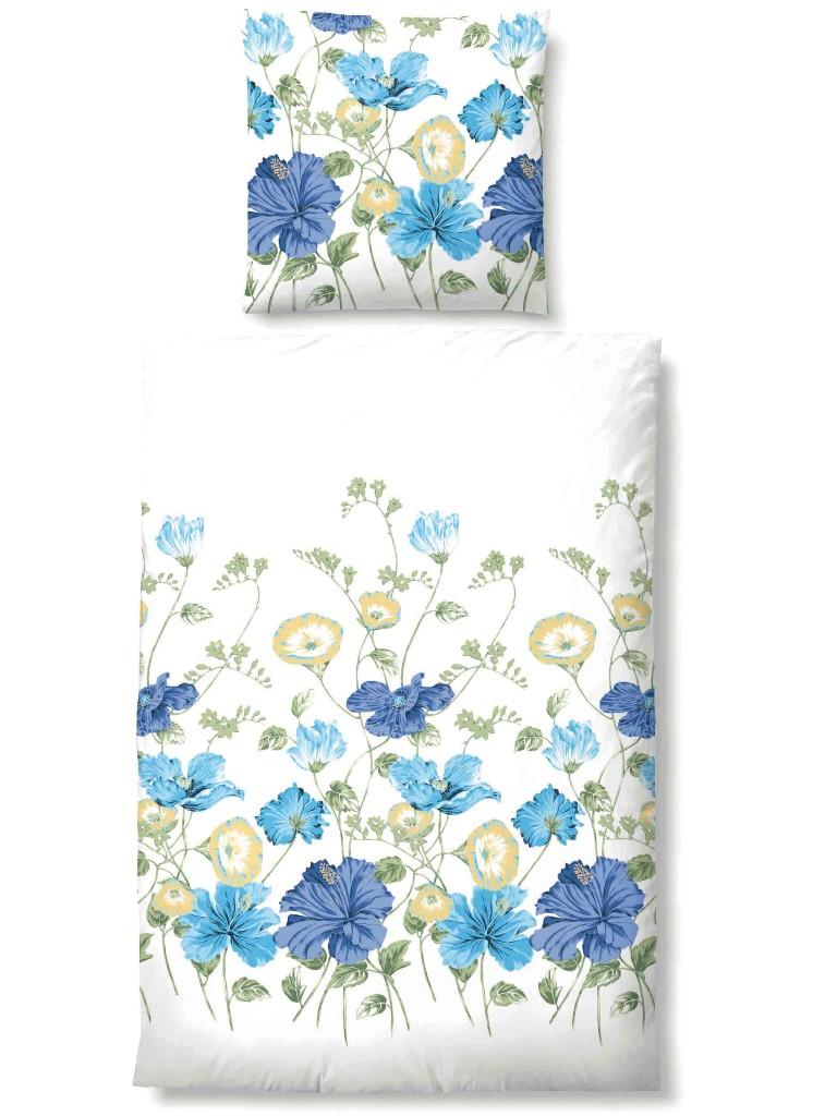 biberna soft seersucker bettw sche 100 baumwolle 135x200 cm gebl mt blumen blau ebay. Black Bedroom Furniture Sets. Home Design Ideas