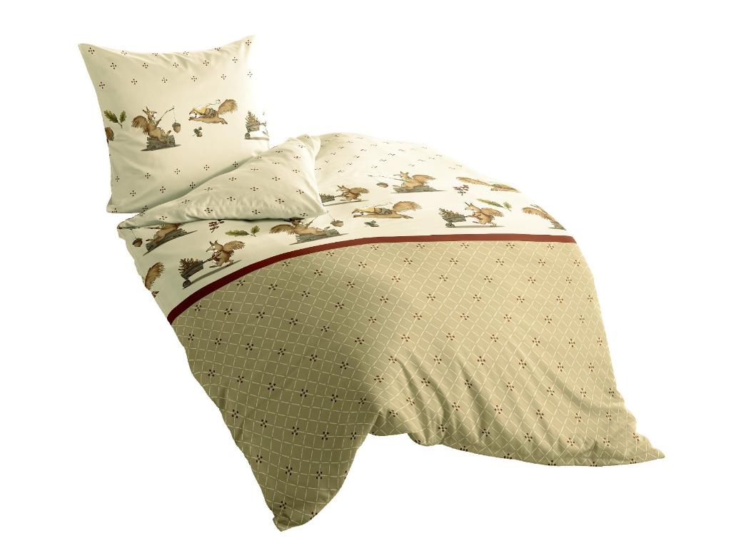 irisette feinbiber bettw sche dublin 135x200 eichh rnchen natur beige baumwolle ebay. Black Bedroom Furniture Sets. Home Design Ideas