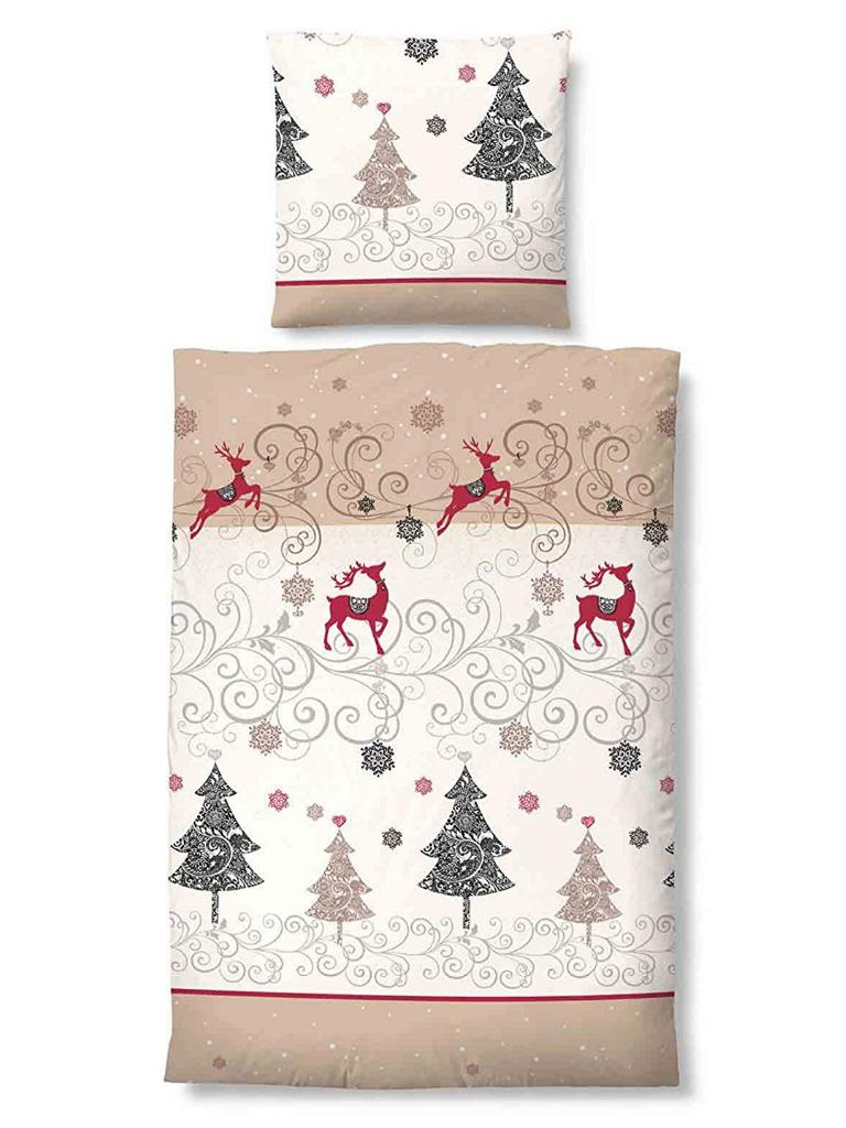 castell biber baumwolle bettw sche 135x200 beige natur rot rentier weihnachten ebay. Black Bedroom Furniture Sets. Home Design Ideas